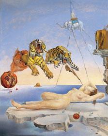 Sueño causado por el vuelo de una abeja alrededor de una granada un segundo antes del despertar. Salvador Dalí 1944